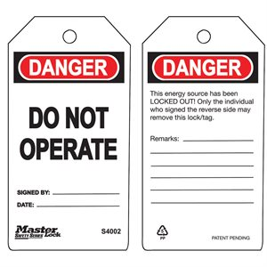 "Safety Tags Master Lock 6Pk DO NOT OPERATE 5.75""x 3"" Guardian Series"